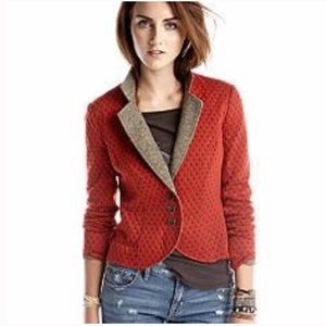 Free People Blazer Small Texture Rust Red PolkaDot